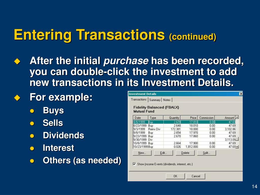 Entering Transactions