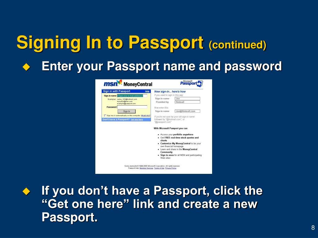 Signing In to Passport