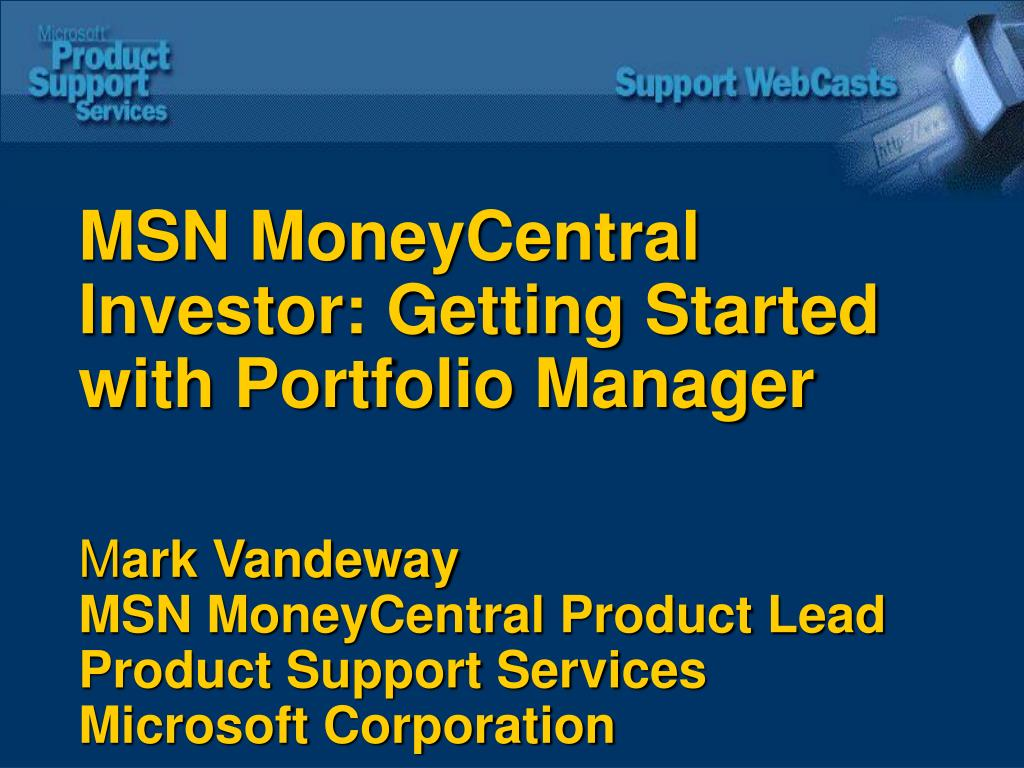 MSN MoneyCentral Investor: Getting Started with Portfolio Manager