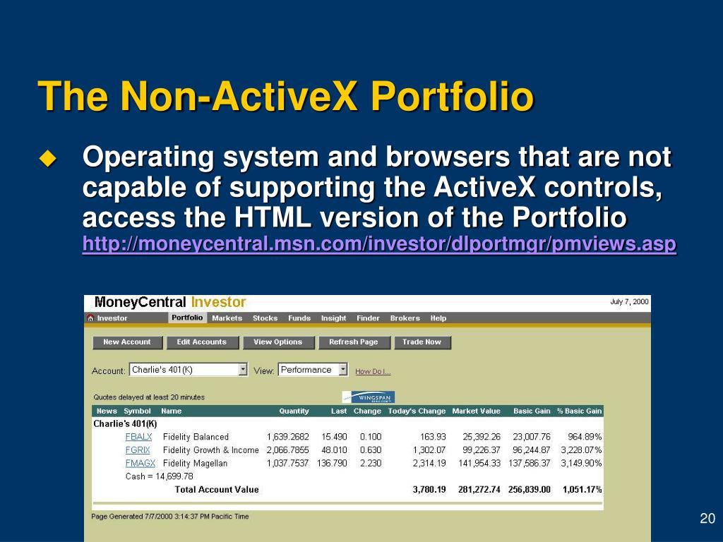 The Non-ActiveX Portfolio