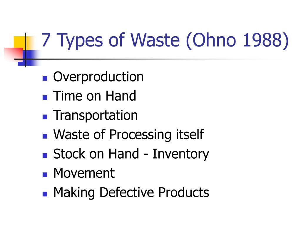 7 Types of Waste (Ohno 1988)