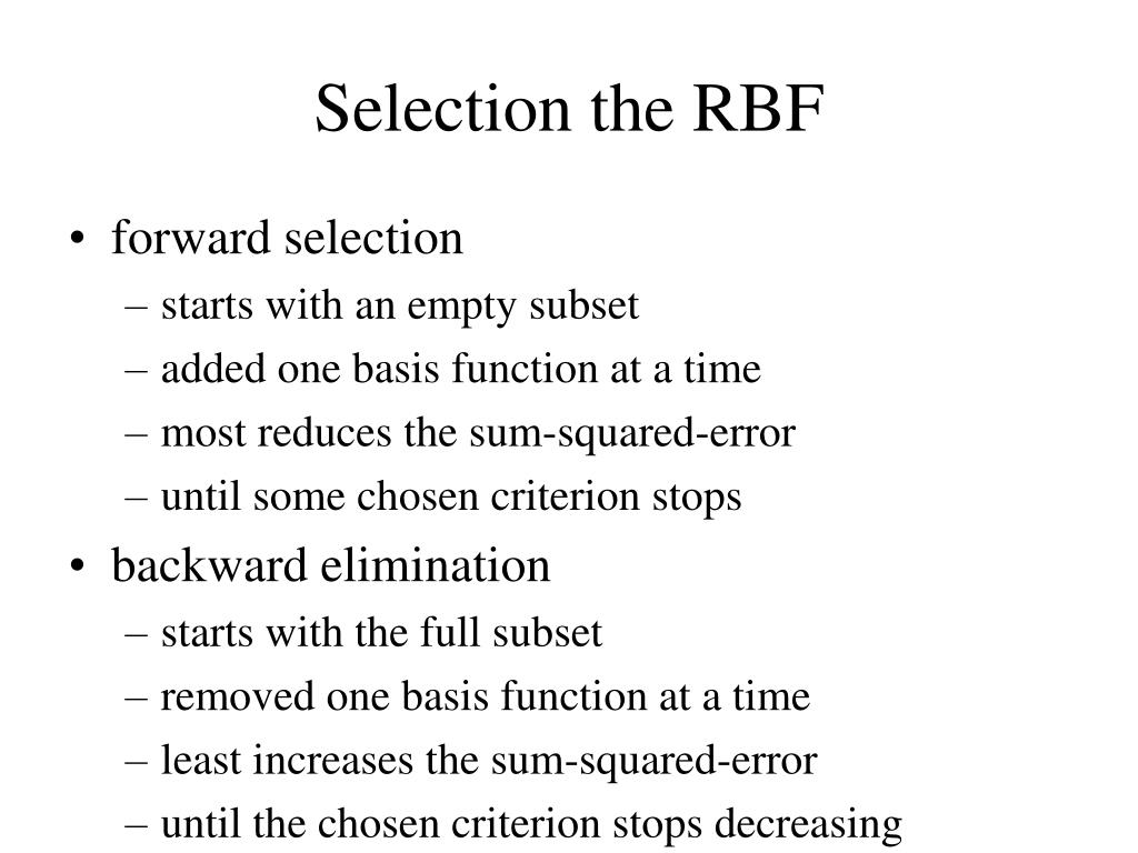 Selection the RBF