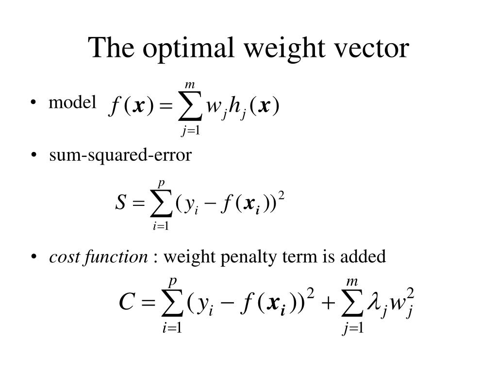 The optimal weight vector