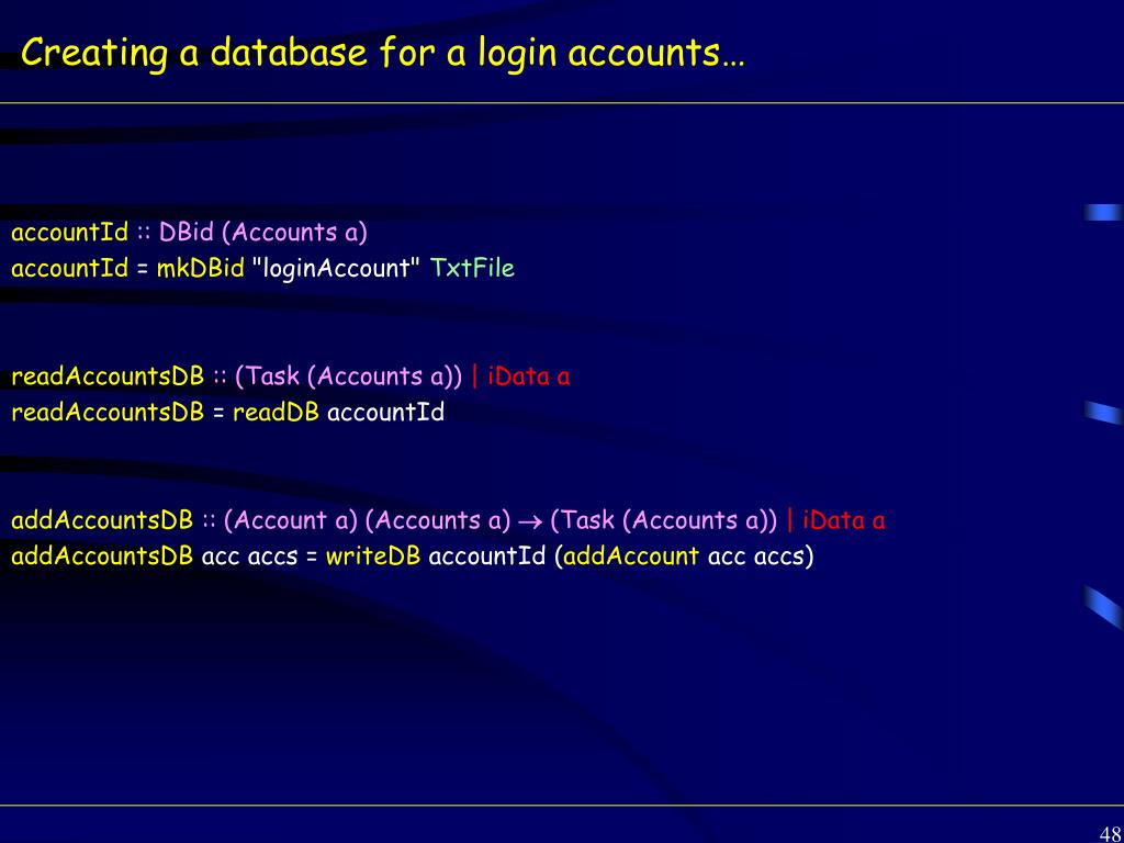 Creating a database for a login accounts…