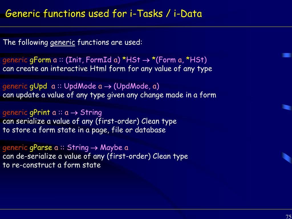 Generic functions used for i-Tasks / i-Data