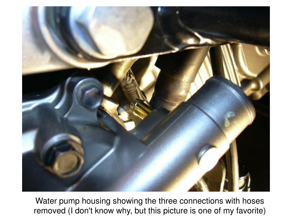 Water pump housing showing the three connections with hoses removed (I don't know why, but this picture is one of my favorite)