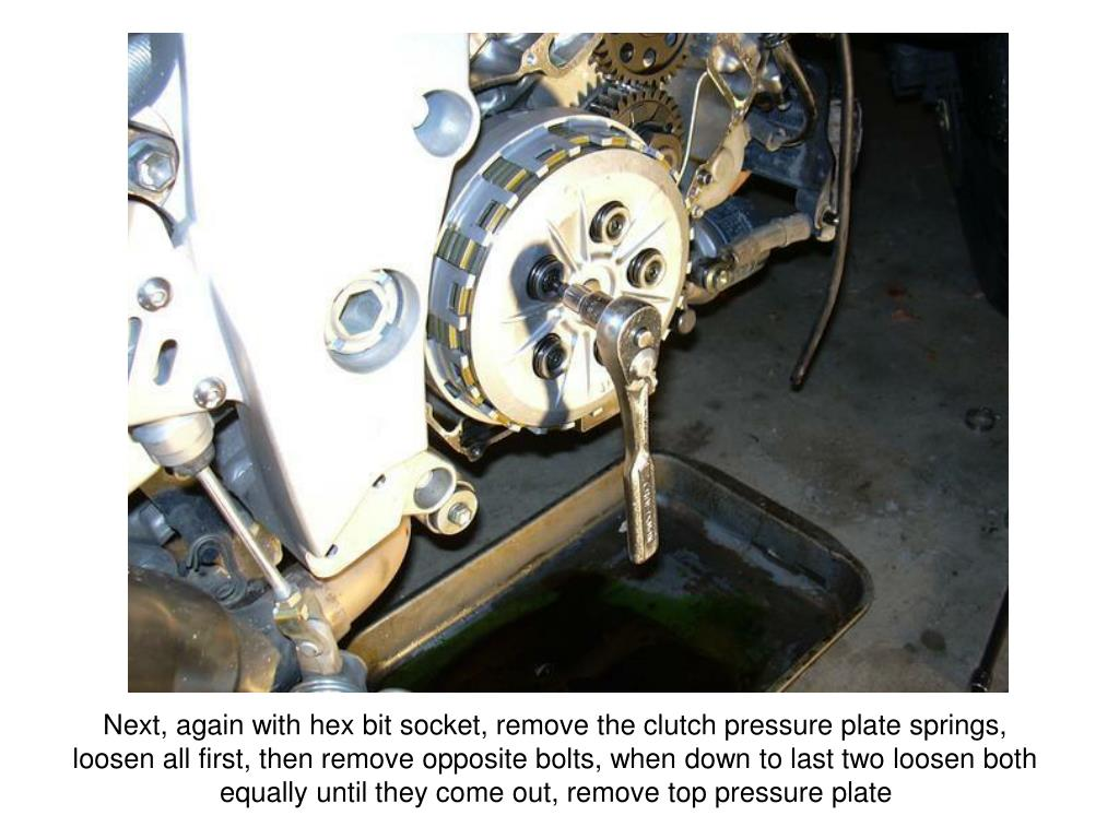 Next, again with hex bit socket, remove the clutch pressure plate springs, loosen all first, then remove opposite bolts, when down to last two loosen both equally until they come out, remove top pressure plate