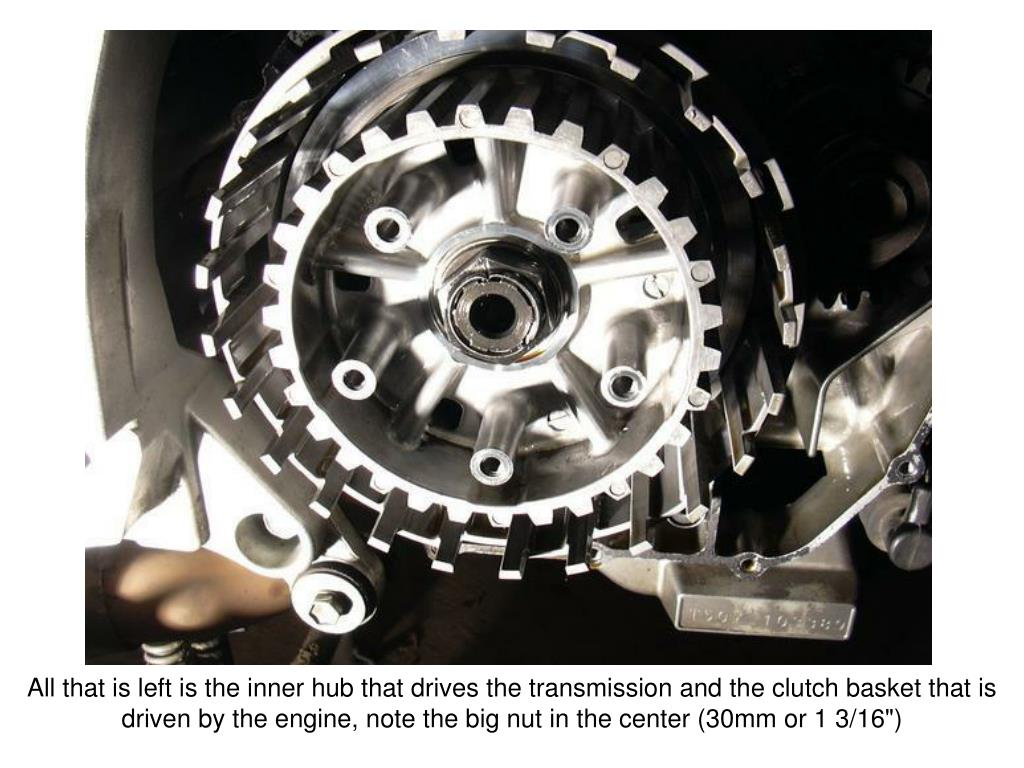 """All that is left is the inner hub that drives the transmission and the clutch basket that is driven by the engine, note the big nut in the center (30mm or 1 3/16"""")"""