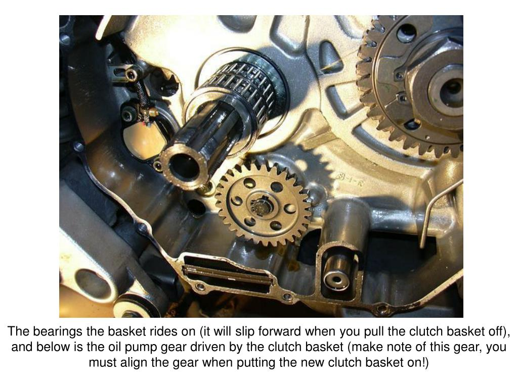 The bearings the basket rides on (it will slip forward when you pull the clutch basket off), and below is the oil pump gear driven by the clutch basket (make note of this gear, you must align the gear when putting the new clutch basket on!)