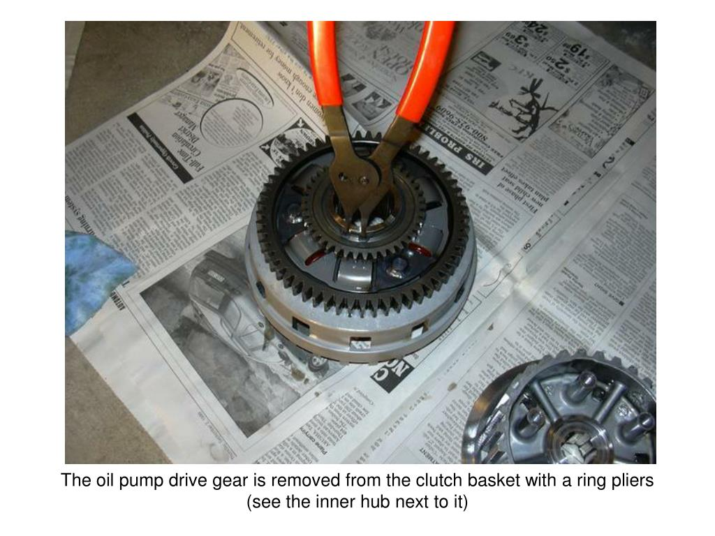 The oil pump drive gear is removed from the clutch basket with a ring pliers (see the inner hub next to it)