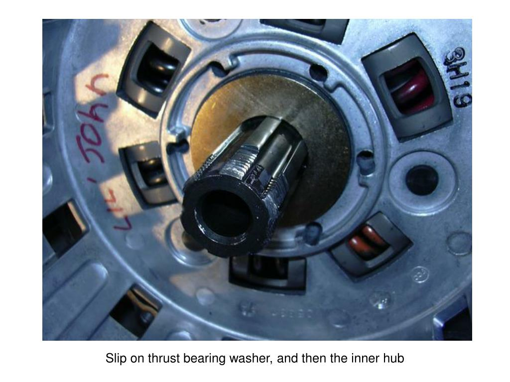 Slip on thrust bearing washer, and then the inner hub