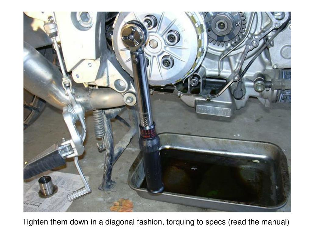 Tighten them down in a diagonal fashion, torquing to specs (read the manual)
