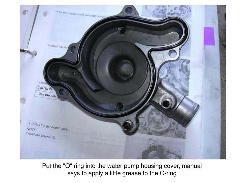 """Put the """"O"""" ring into the water pump housing cover, manual"""