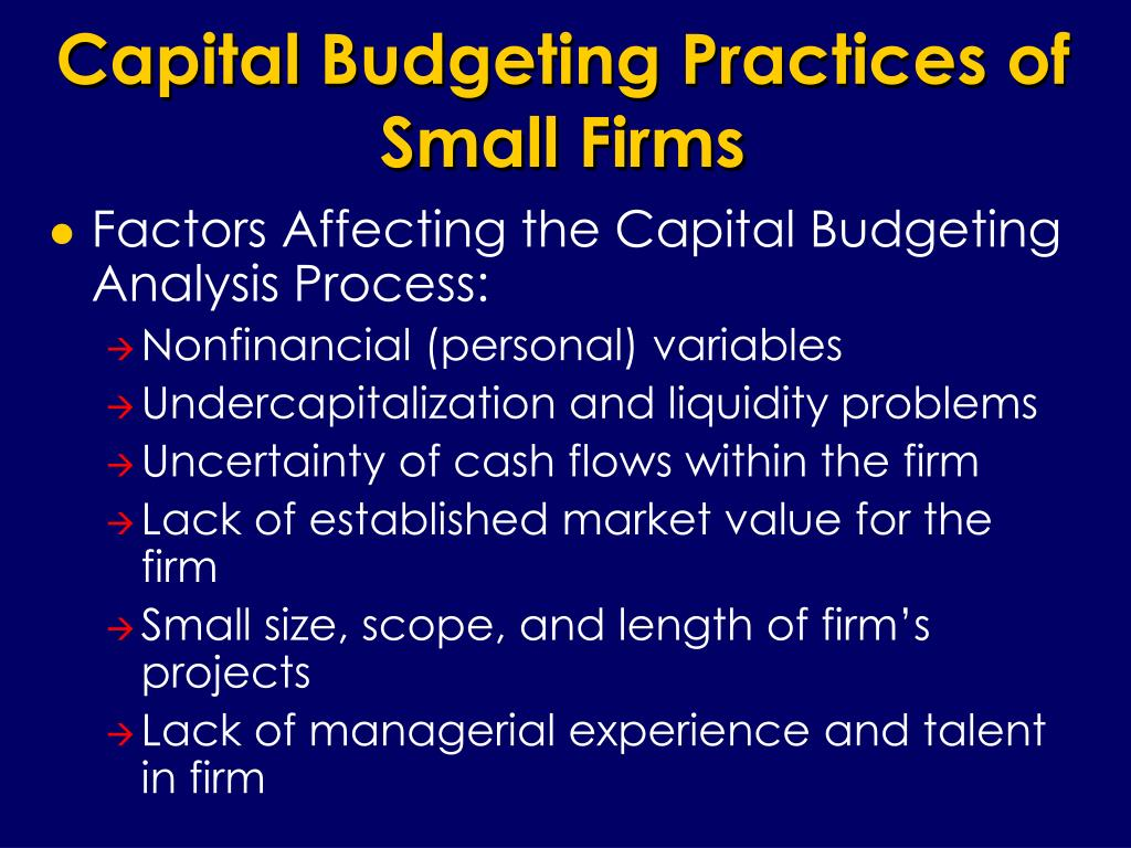 Capital Budgeting Practices of Small Firms