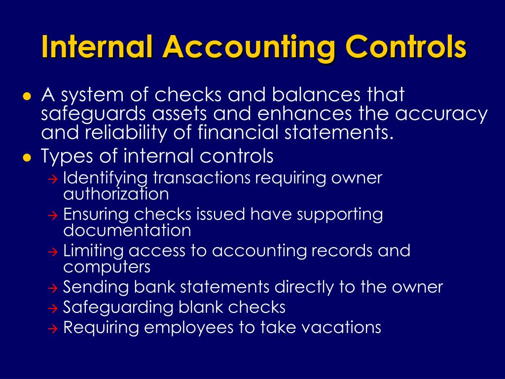 Internal Accounting Controls