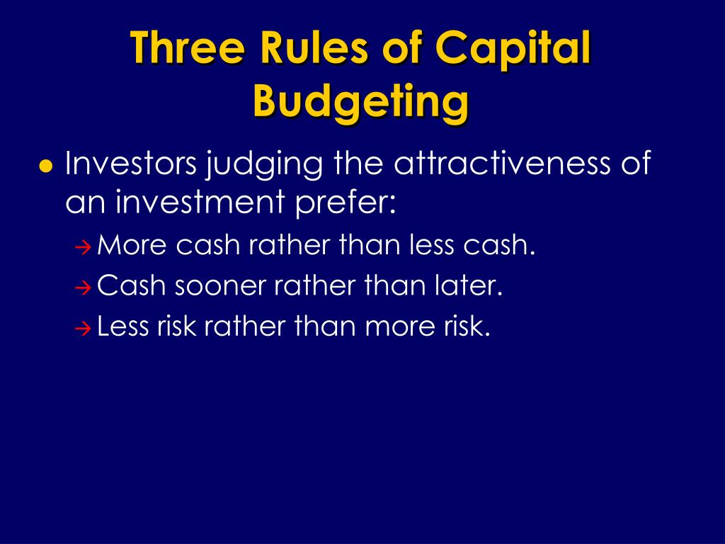 Three Rules of Capital Budgeting
