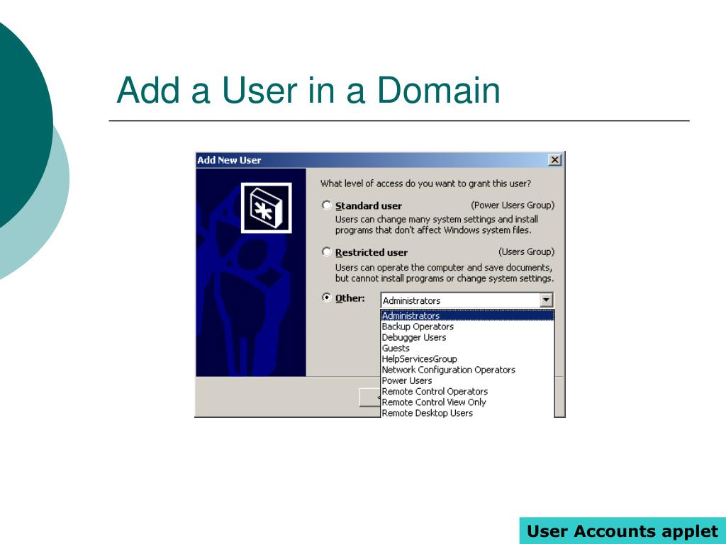Add a User in a Domain