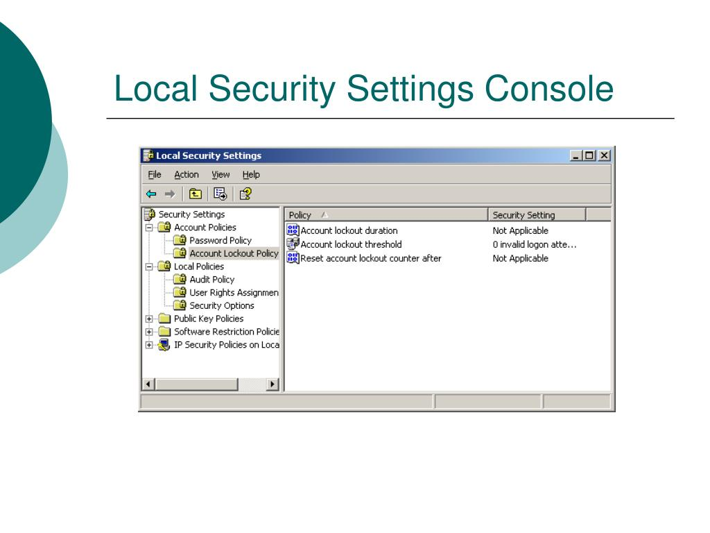 Local Security Settings Console