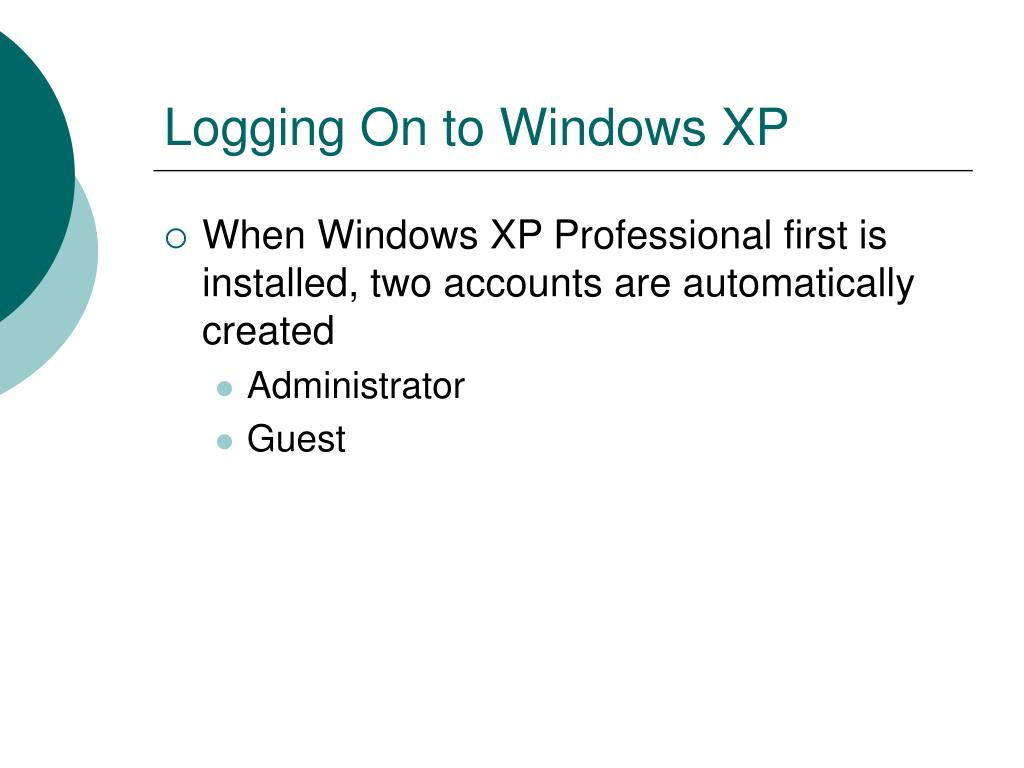Logging On to Windows XP