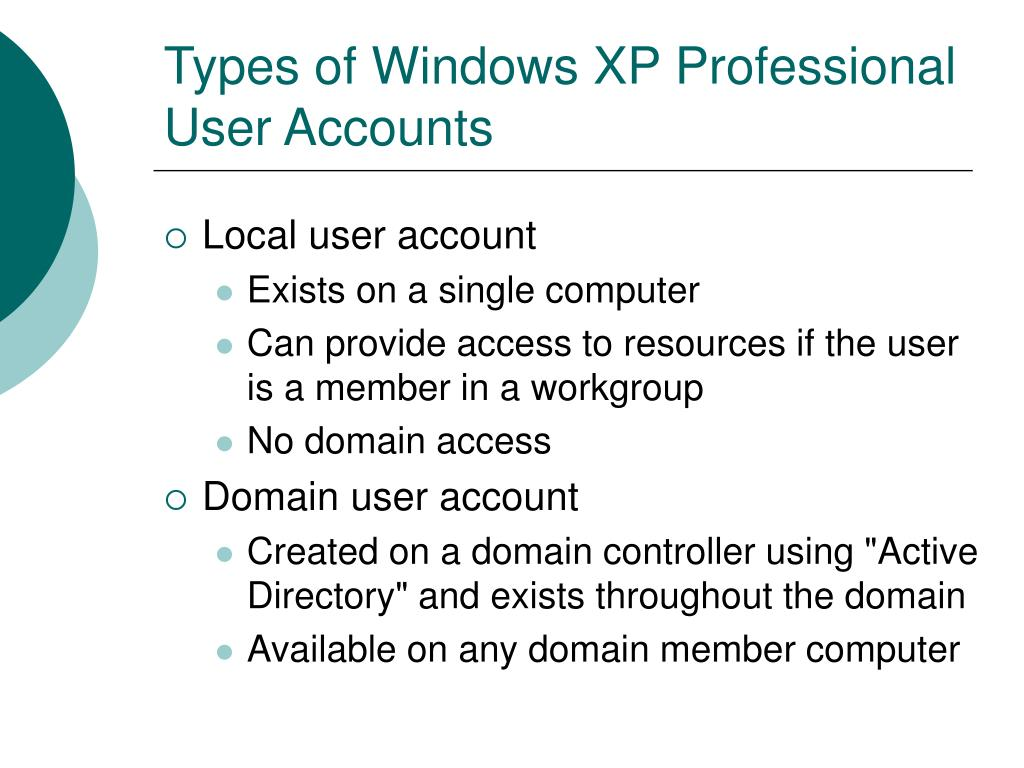 Types of Windows XP Professional User Accounts