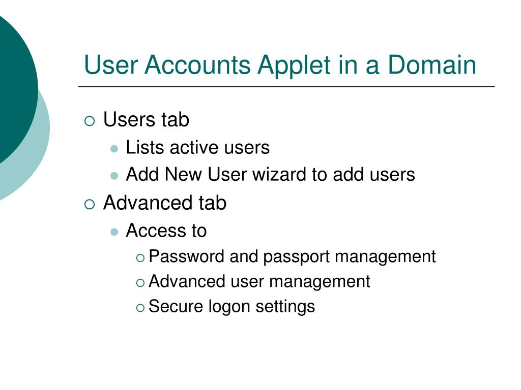 User Accounts Applet in a Domain