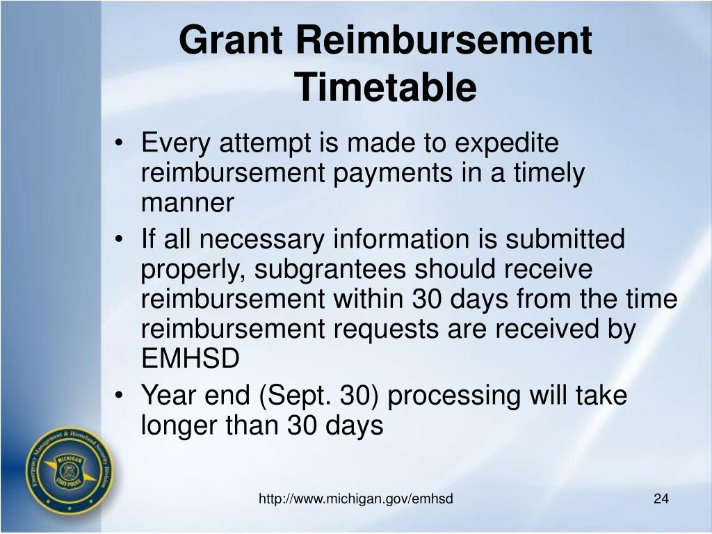 Grant Reimbursement Timetable