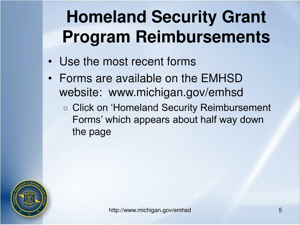 Homeland Security Grant Program Reimbursements