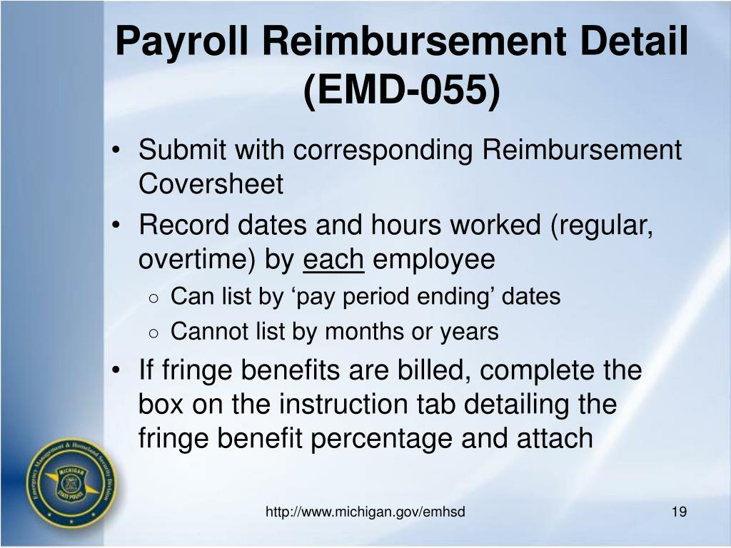 Payroll Reimbursement Detail (EMD-055)