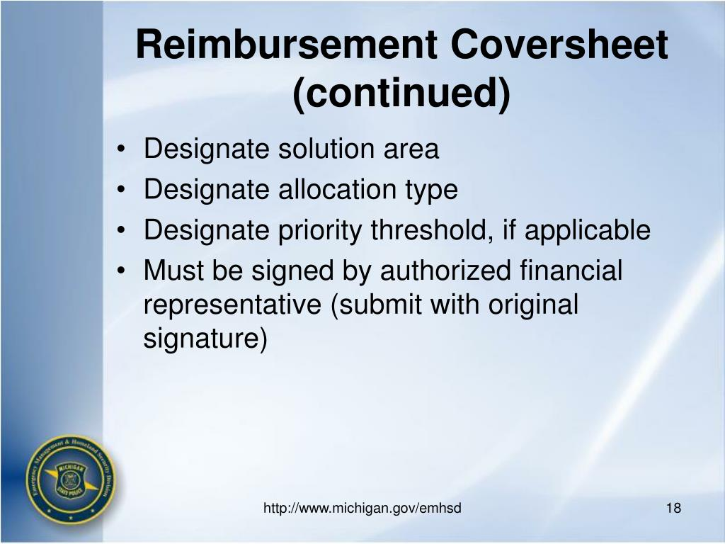 Reimbursement Coversheet   (continued)