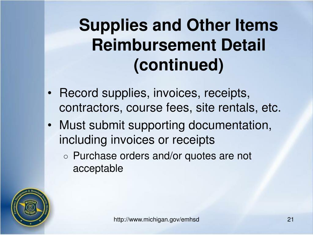 Supplies and Other Items Reimbursement Detail (continued)