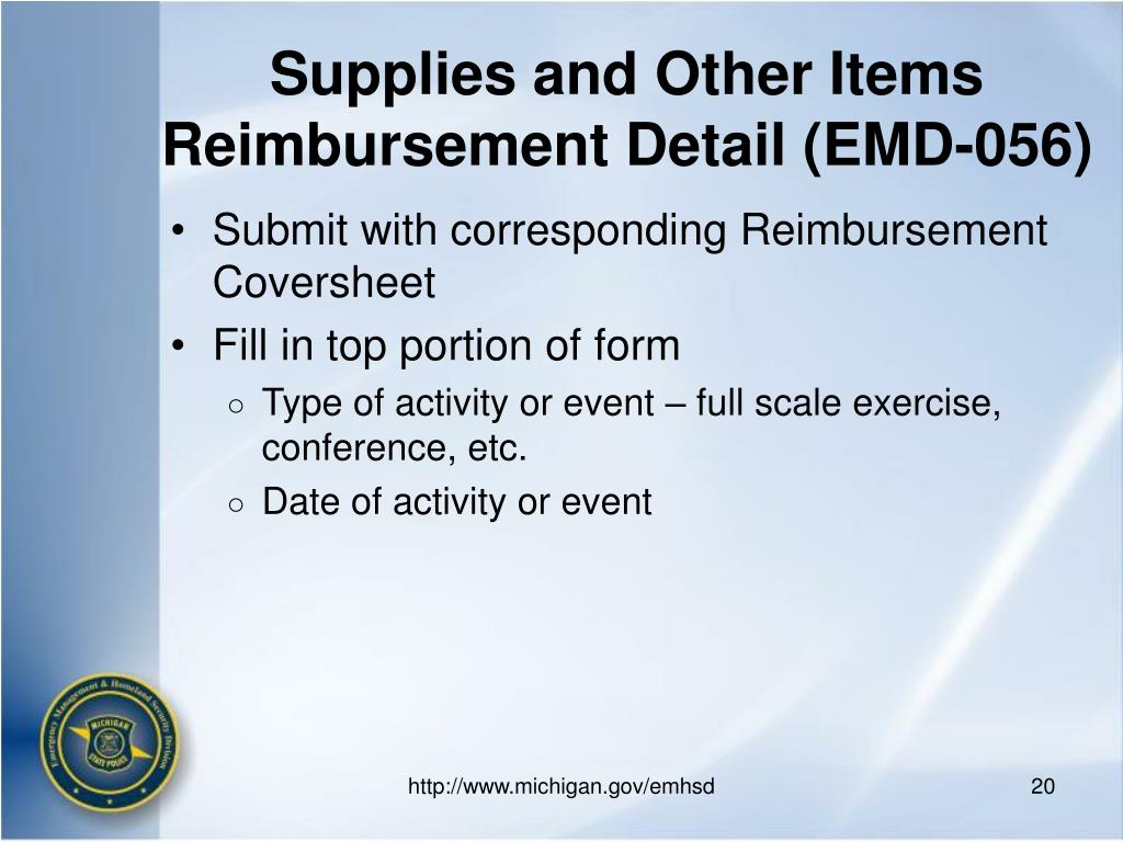 Supplies and Other Items Reimbursement Detail (EMD-056)