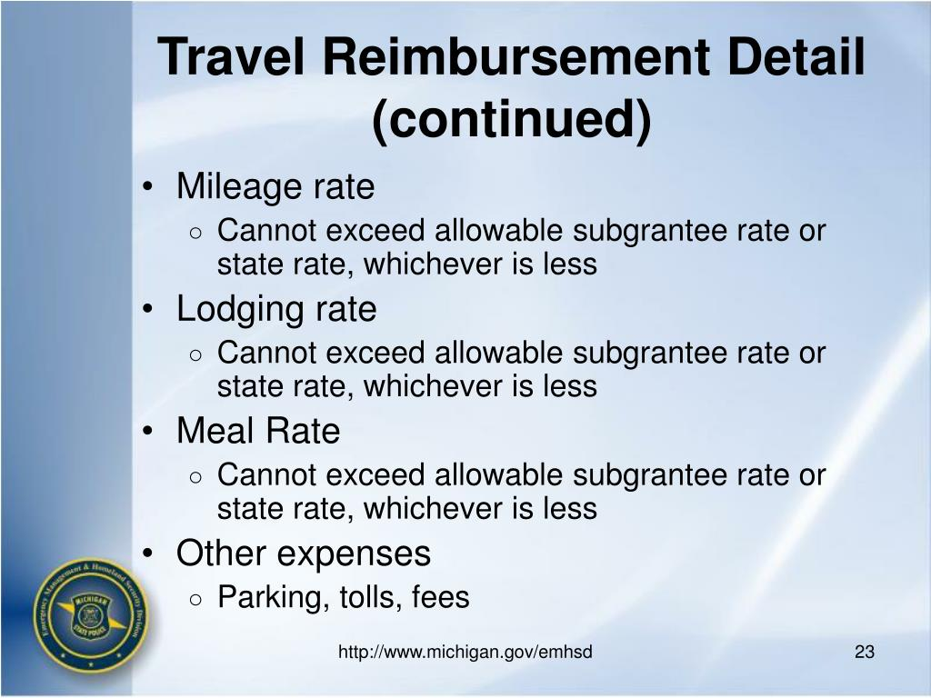 Travel Reimbursement Detail (continued)