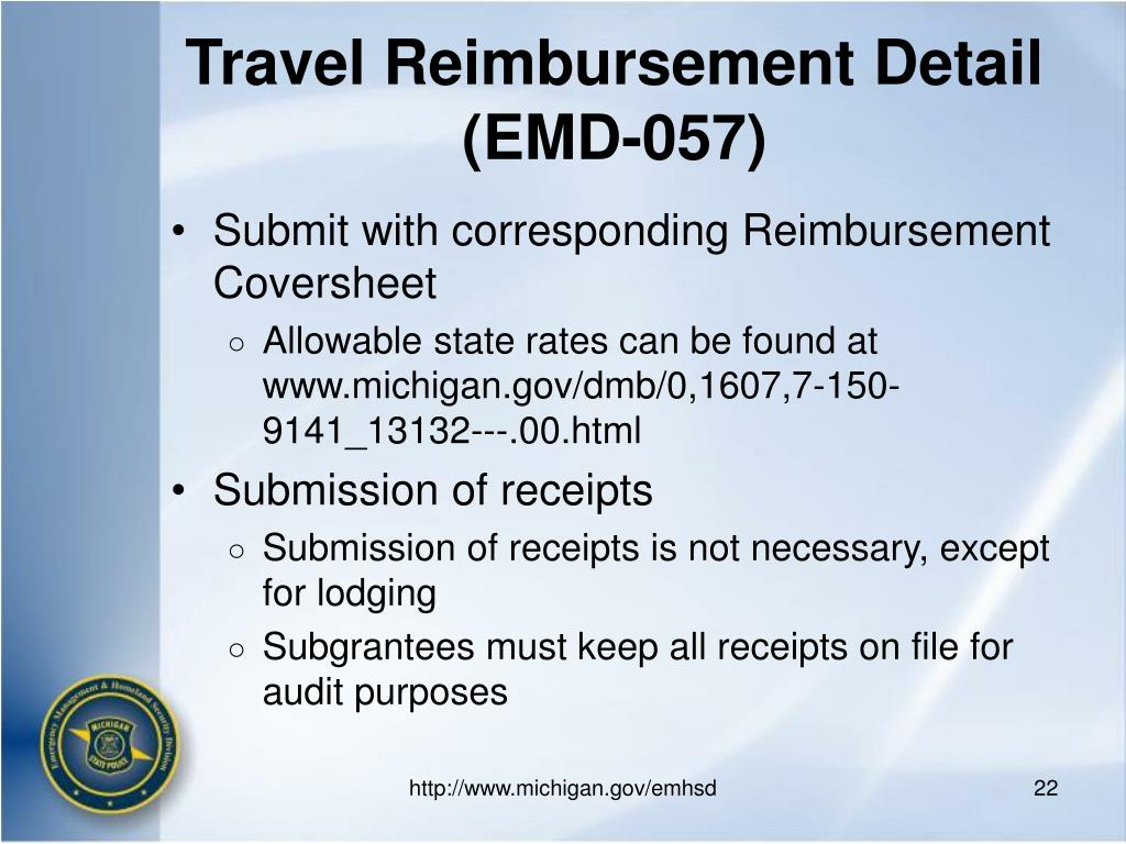 Travel Reimbursement Detail (EMD-057)