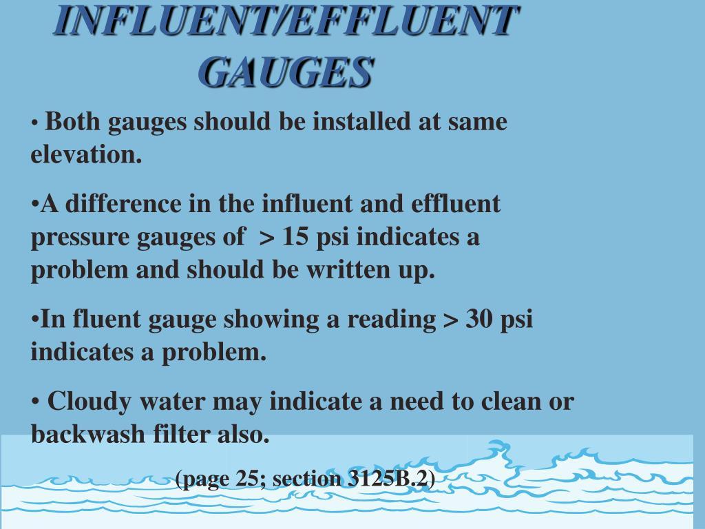 INFLUENT/EFFLUENT GAUGES