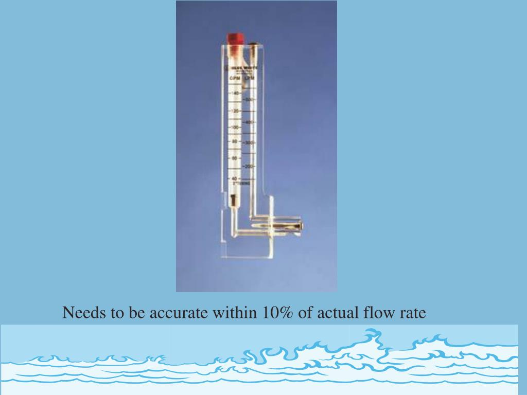 Needs to be accurate within 10% of actual flow rate