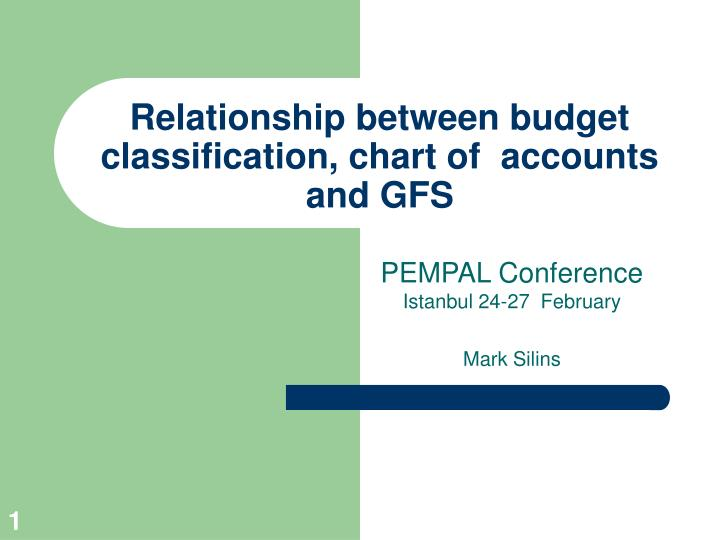 Relationship between budget classification chart of accounts and gfs