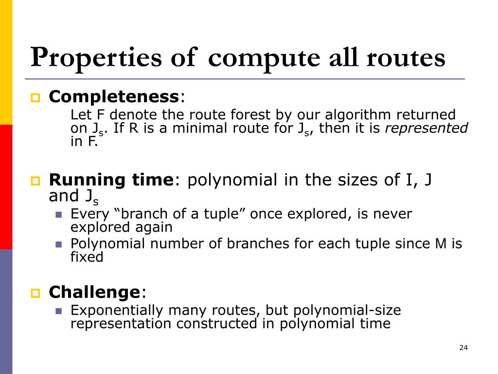 Properties of compute all routes