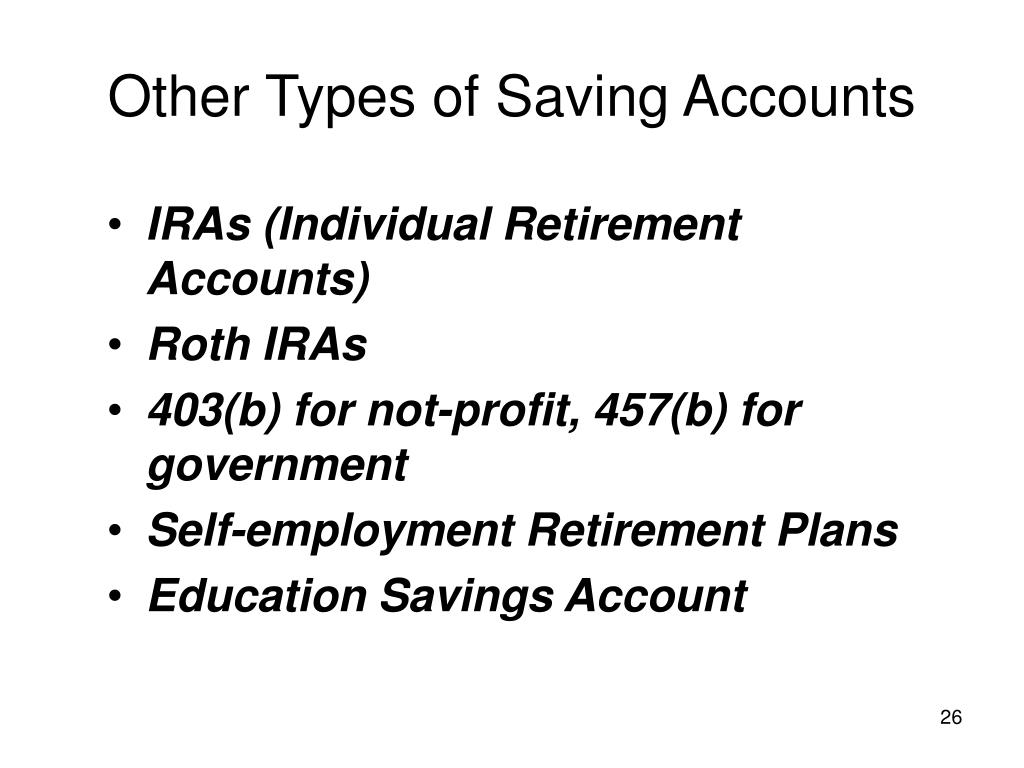 Other Types of Saving Accounts