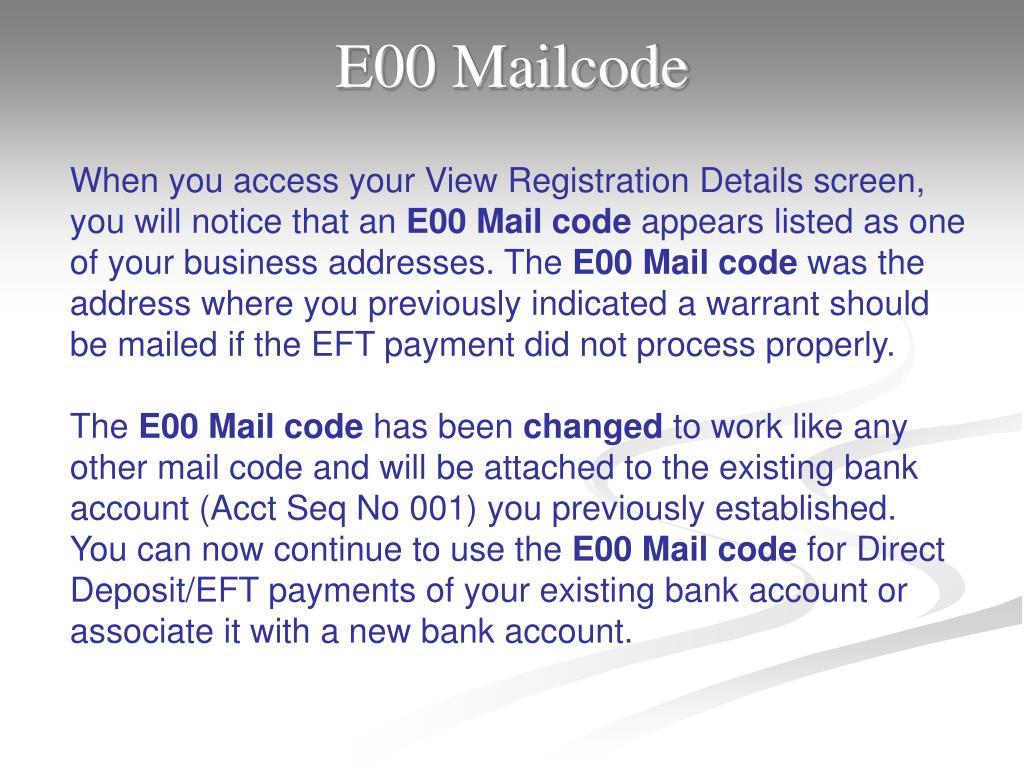 E00 Mailcode