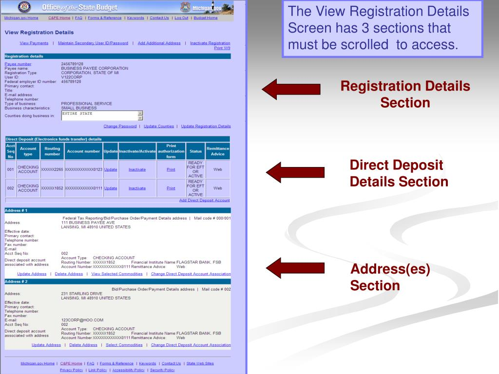 The View Registration Details Screen has 3 sections that must be scrolled  to access
