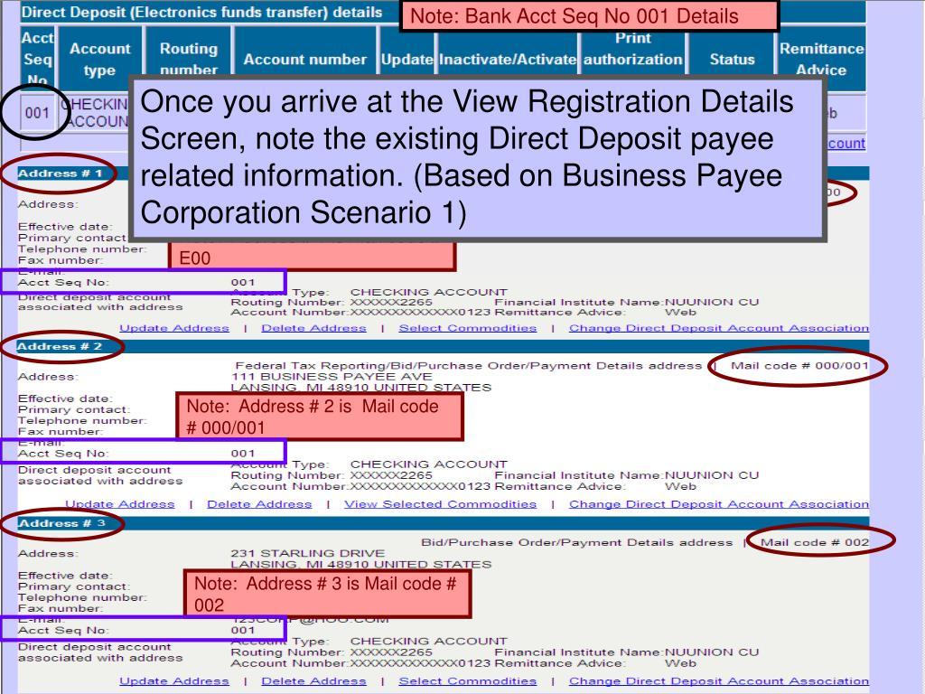 Note: Bank Acct Seq No 001 Details