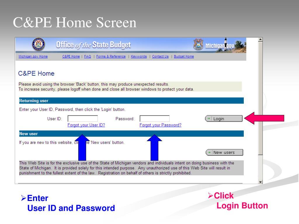 C&PE Home Screen