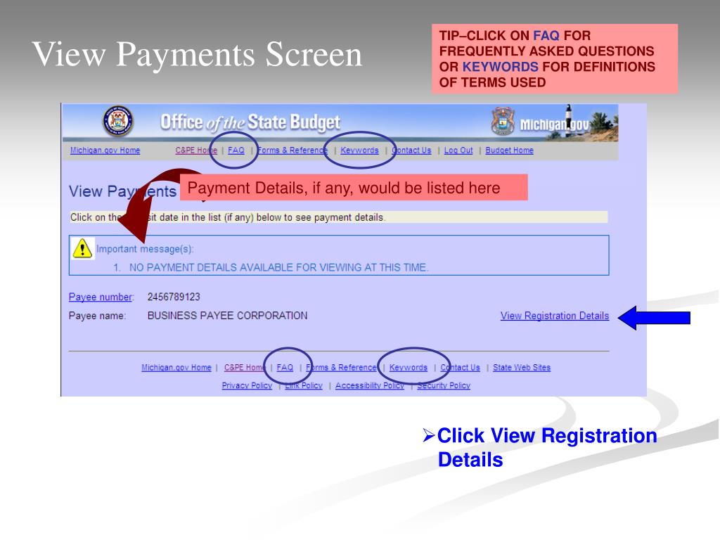 View Payments Screen