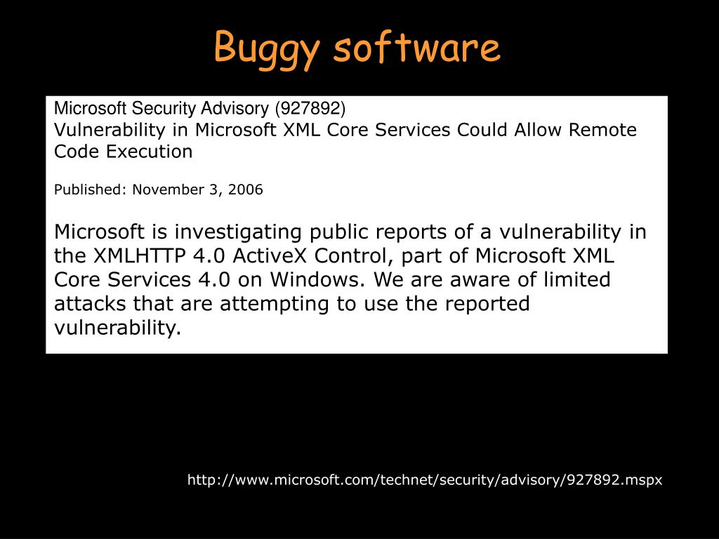 Buggy software