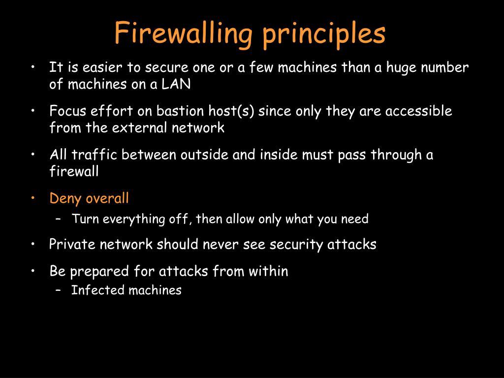 Firewalling principles