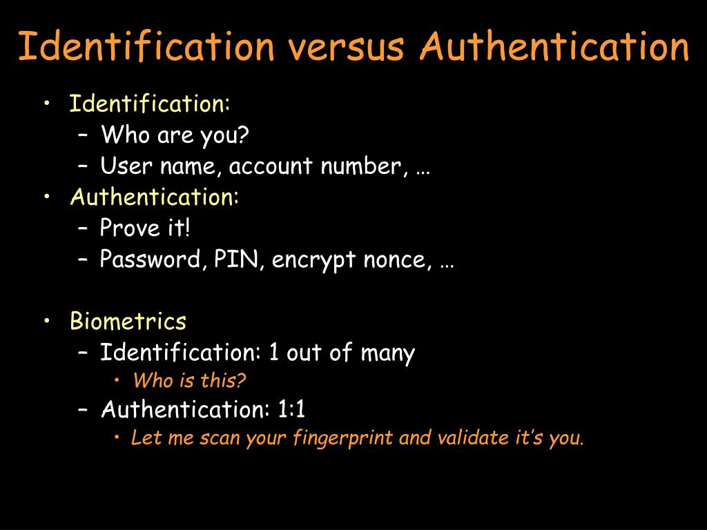 Identification versus Authentication