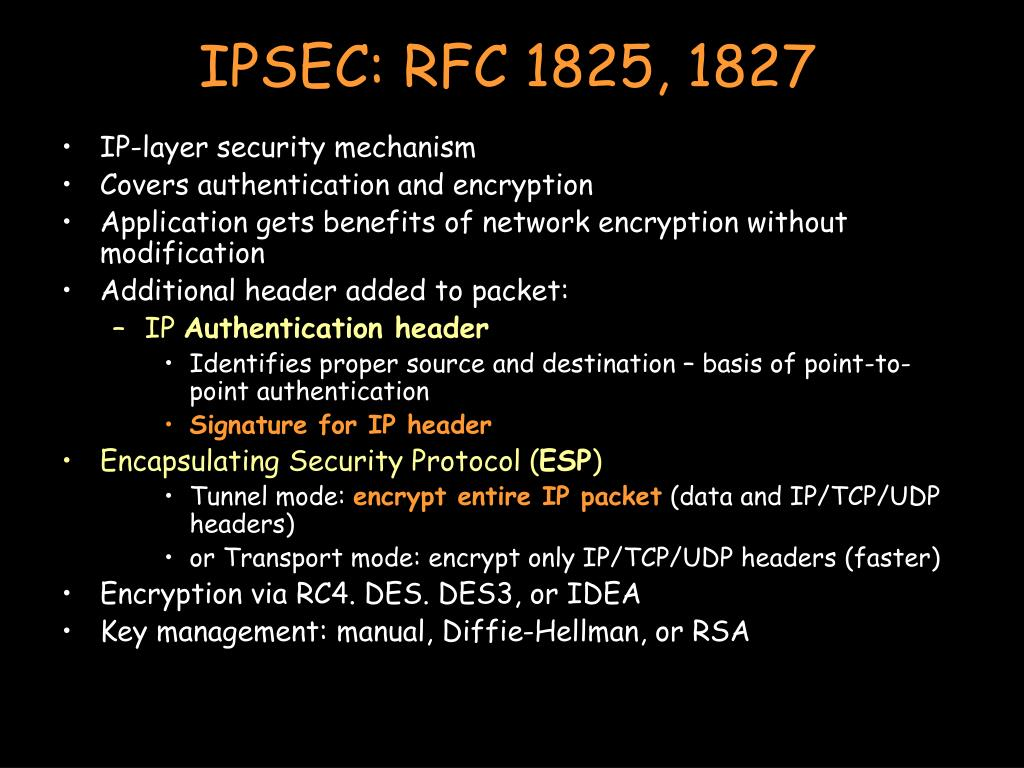 IPSEC: RFC 1825, 1827