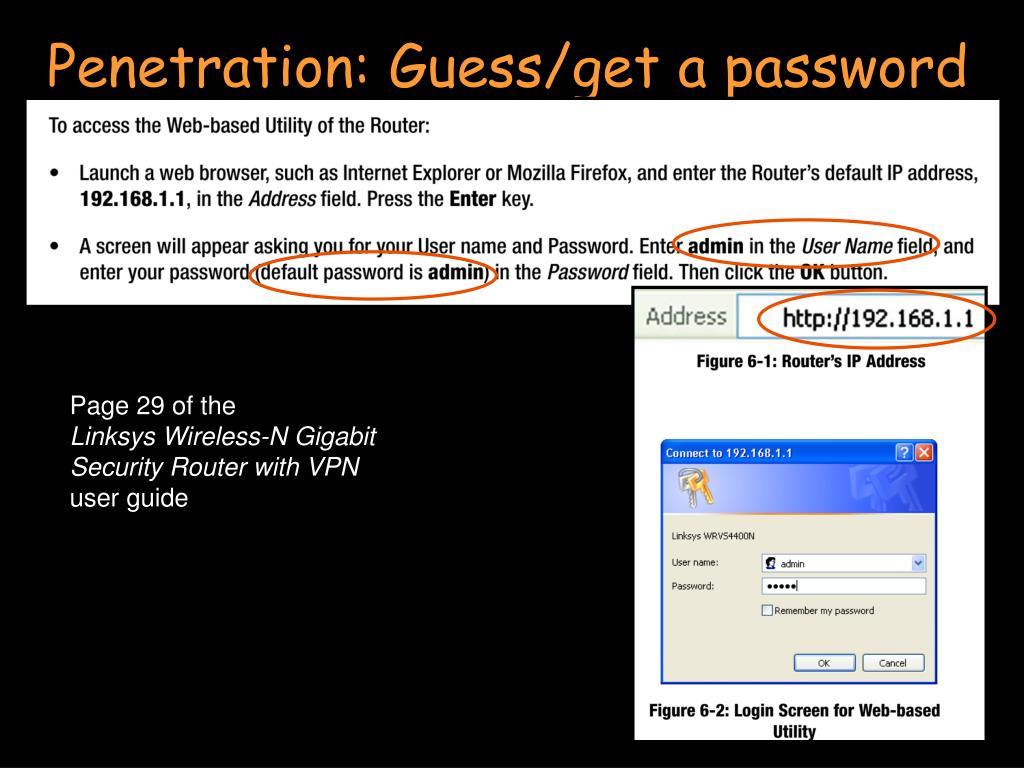 Penetration: Guess/get a password
