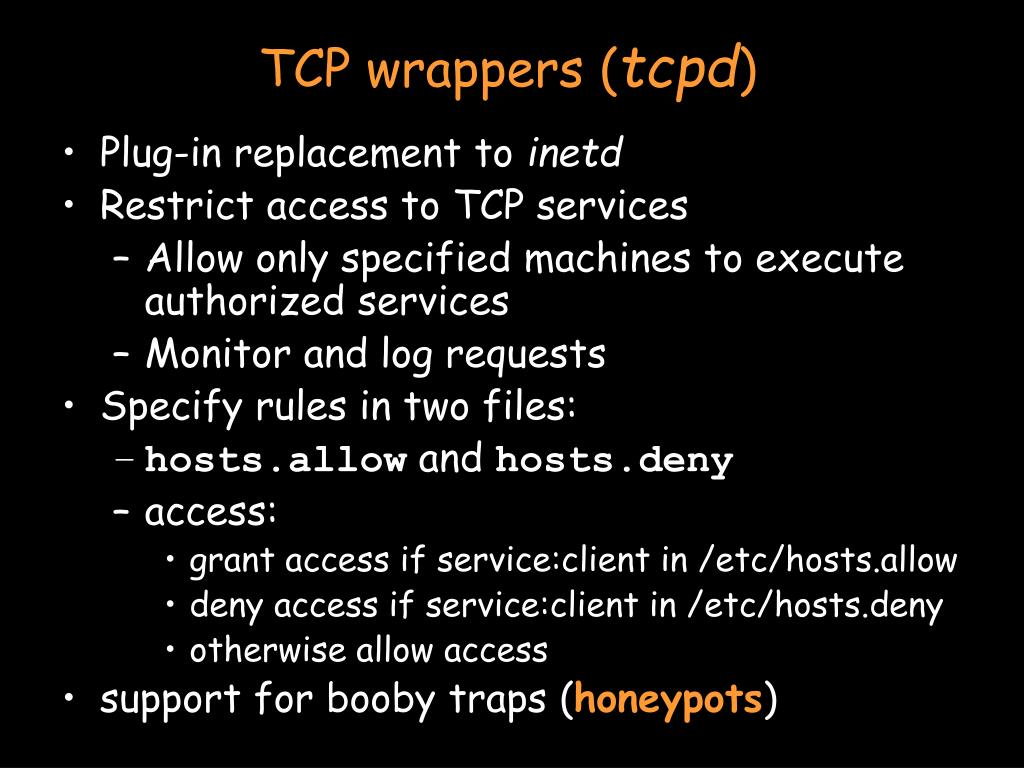 TCP wrappers (