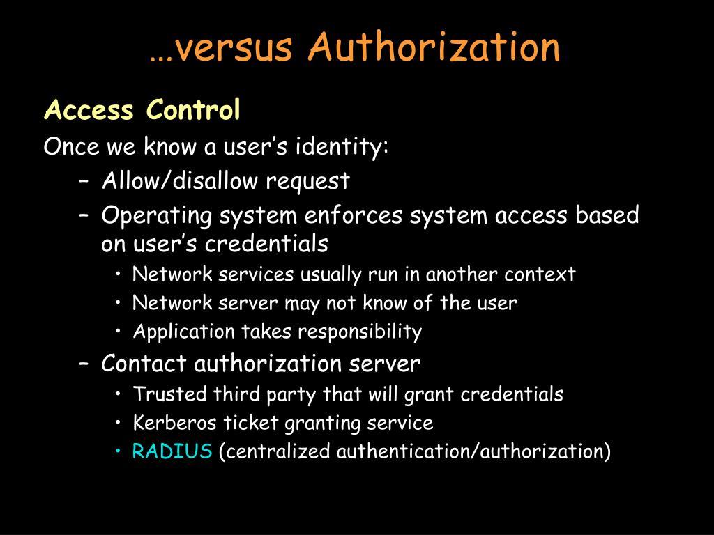 …versus Authorization